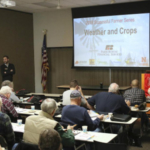 Tyler Williams, climate and crops extension educator in Lancaster County, speaks at one of the 2018 Successful Farmer sessions. Sessions for 2019 start January 4 and continue on Friday mornings through February 8 at the Lancaster County Extension Office. They will also be livestreamed on the Internet. (Courtesy of UNL)