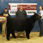 Bailey DeJong, Kennebec received Champion Maine Anjou Steer and Fourth Place Overall Market Beef during the Miner County 37th Annual Feeder Calf Show held November 23, 2018 at the 4-H Grounds in Howard. (Courtesy image)