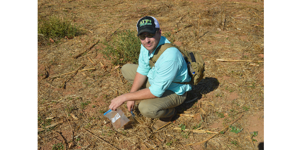 In Africa, Steinacher collected soil samples and evaluated the limiting factors of the selected fields. (Courtesy of WIU)