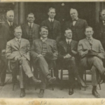 Indiana Farm Bureau's founding board. Second from the right in the first row is INFB's first president John G. Brown who served as president from 1919 until 1922. (Courtesy of Indiana Farm Bureau)