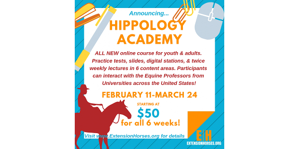 Equine professors working with ExtensionHorses.org are offering a new Hippology Academy, Feb. 11 to March 24, 2019.