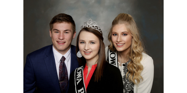 From left, Isaac Wiley, Walker; Gracie Greiner, Washington, and Carli Grau, Newell are the 2019 IPPA Youth Leadership Team. (Courtesy of IPPA)