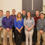 MSU scholarship students were honored at an MMPA meeting on Nov. 20. Back row, from left: Nolan Wieber, Gerrit Baker, Adam Wiles and Adam Jones. Front row, from left: Jacob Arens, Shania Drakes, Olivia Walker and Wyatt Lamb. NOT PICTURED: Josh Perkins. (Courtesy of Michigan Milk Producers Association)