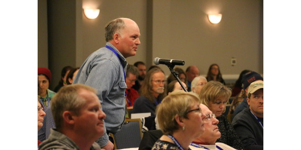 Chippewa County beef farmer Ken Schmitt of Colfax spoke up during the policy discussion at the 88th Annual Wisconsin Farmers Union State Convention. (Courtesy of WFU)