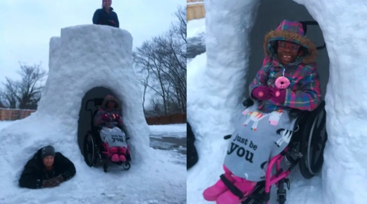 Family builds wheelchair-accessible snow fort so everyone can play