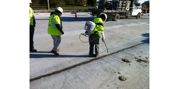 Engineering sealant technology developed by Purdue University protects and prolongs the life of new and existing concrete. (Image provided by Indiana Soybean Alliance)