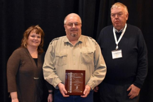 L to R: Stacey McGinnis (Noble County SWCD), Greg Flory, Tom Bechman (Indiana Prairie Farmer)