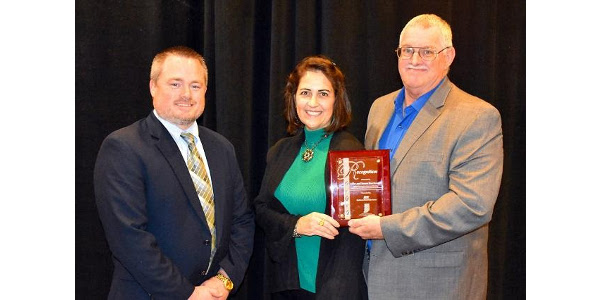 L to R: Brad Ponsler (Indiana Farm Bureau/IASWCD), Susan and Mike Brocksmith. (Courtesy of Indiana Association of Soil and Water Conservation Districts)