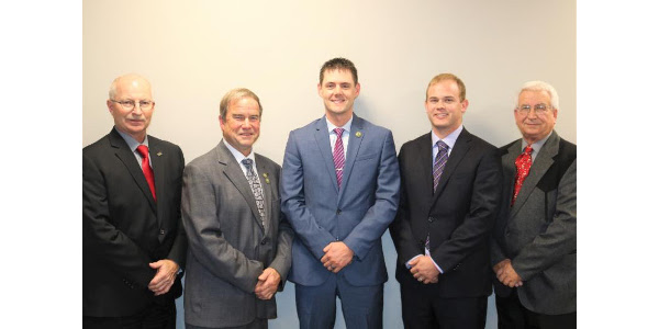 From Left: Dan Wesely, Chairman; Dan Nerud, President; Andy Jobman, Vice President; Chris Grams, Secretary; Tom Nathan, Treasurer. (Courtesy of Nebraska Corn Growers Association)