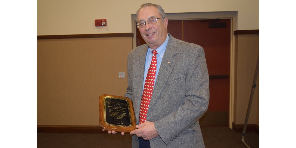 University of Wisconsin-Madison Soil Scientist Dr. Keith Kelling was inducted into the Wisconsin Potato & Vegetable Growers Association Hall of Fame at the industry's annual awards banquet held February 6, 2019 in Stevens Point. (Courtesy of WPVGA)