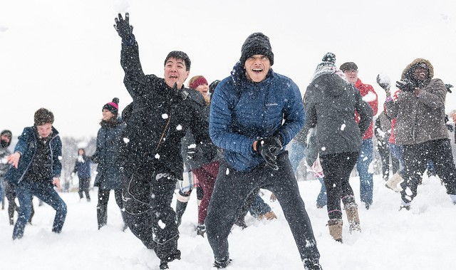 Hundreds take part in large public snowball fight