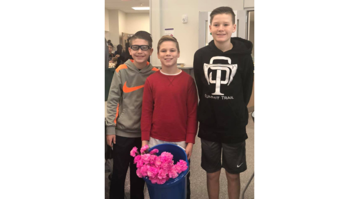 Three boys buy flowers for all 270 girls at their school