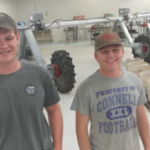 Chase Stanley and Jarrod Tuttle gain electrical and irrigation tech skills with the small center pivot at the NCTA ag mechanics lab-classroom. (Crawford/NCTA News photo)