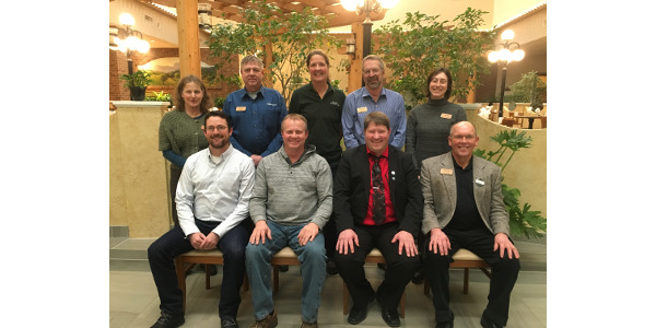 The 2019 Wisconsin Farmers Union board includes, left to right (front row) Secretary Chris Holman, Custer; Vice President Craig Myhre, Osseo; President Darin Von Ruden, Westby; Treasurer Rick Adamski, Seymour; (back row) Linda Ceylor, Catawba; Ed Gorell, Eleva; Tina Hinchley, Cambridge; Mark Liebaert, South Range; and Lauren Langworthy, Wheeler. (Courtesy of WFU)