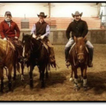 NCTA Aggies received customized training in horsemanship and reining during a campus clinic in 2017. Sherman Tegtmeier, second to right, returns to Curtis Feb. 22-23. (NCTA photo)