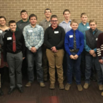 Youth in attendance at the Innovative Youth Corn Challenge Banquet were recognized for their efforts. (L-R: Payton Schiller, Kaylea Geiser, Gavin Nelson, Kara Kudera, Rylan Nelson, Logan Nelson, Kade Stromberg, Korbin Kudera, Isaac Stormberg, Matthew Rolf, Ian Schiller, James Rolf, James Rolf, Landon Haskenkamp, Brooke Hilgenkamp, Aaron Fuchs. (Courtesy of University of Nebraska-Lincoln)