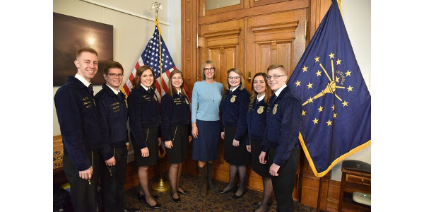 The 2018-2019 Indiana FFA State Officer team with Lt. Governor Suzanne Crouch. (Courtesy of Indiana State Department of Agriculture)