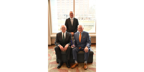 MMPA presented the Food Bank Council of Michigan with the 2019 Valued partner award at the MMPA Annual Meeting on March 14, 2019 at the Lansing Center in Lansing, Michigan. Pictured from left: MMPA President Ken Nobis, MMPA CEO Joe Diglio and FBCM Executive Director Phil Knight. (Courtesy of MMPA)