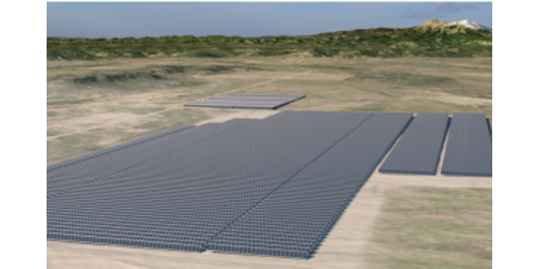 Visualization of 100-MW Spanish Peaks Solar Project, with existing 30-MW San Isabel Solar Project in background. (Courtesy of  Tri-State and juwi)