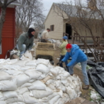 NDSU Extension has numerous resources to help you prepare for a flood, including how to build a sandbag dike. (NDSU photo)
