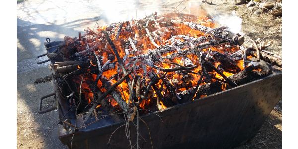 Wood waste is being turned into biochar in a flame cap kiln. (NDSU photo)