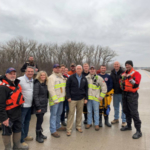 Gov. Ricketts, Sen. Sasse, and Congressman Bacon thank first responders in Waterloo. (Courtesy of Office of Governor Pete Ricketts)
