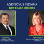 Gene Miles (left), president and CEO, First Farmers Bank & Trust and Melissa Proffitt (right), partner-in-charge of client relations and chairs the Food and Agribusiness Group and Energy Group, Ice Miller LLP. (Courtesy of AgriNovus)