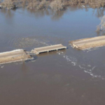 Aerial view of a bridge destroyed near Genoa. (Courtesy of Office of Governor Pete Ricketts)