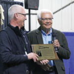 Carlson was inducted into the North Dakota Agriculture Hall of Fame at the Winter Show in Valley City for his many contributions to agriculture. (Courtesy of NDFU)