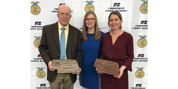 Jenny Kocian from David City High School and David Rocker from Franklin Public Schools were honored at the Nebraska FFA State Convention on Thursday, April 4, in Lincoln. (Courtesy of Nebraska Farm Bureau Foundation)