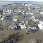 An aerial shot of flood waters in North Bend, Nebraska, on March 15, 2019. (Photo credit: Justin Mensik of North Bend)