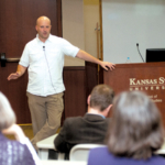 Nathan Smit, Kansas State University Global Campus 2019 Alumni Fellow, talks to students and staff on April 11, 2019, about design thinking and how he uses it in his role as a food innovator for Hormel -- and in everyday life. (Courtesy of K-State Research and Extension)