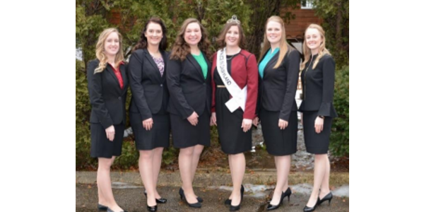 Alice in Dairyland top candidates pictured with 71st Alice in Dairyland Kaitlyn Riley (from left): Sarah Achenbach, Cassandra Krull, Tess Zettle, Kaitlyn Riley, Abigail Martin and Mariah Martin. (Courtesy of Wisconsin Department of Agriculture)