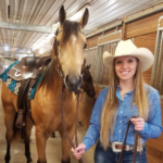 UW-River Falls student Dani Durand, an animal science – equine management major, is shown with Hip # 45, MR GAUCHO GIL, a two-year-old quarter horse gelding. (Courtesy of UW-River Falls)