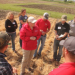 Crop scouts gain experience in diagnosing early season pest and management strategies and hear about growing season issues that may arise. (Courtesy of ISU Extension and Outreach)