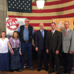 Gov. Ricketts (center) with (from left to right) the Sundstrom family, AFAN Executive Director Steve Martin, and Sand County Foundation Treasurer Homer Buell. (Courtesy of Office of Governor Pete Ricketts)