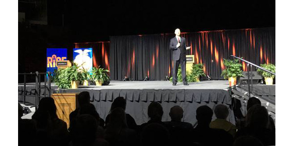 Gov. Ricketts addresses students at the 91st Nebraska FFA Convention. (Courtesy of Office of Governor Pete Ricketts)