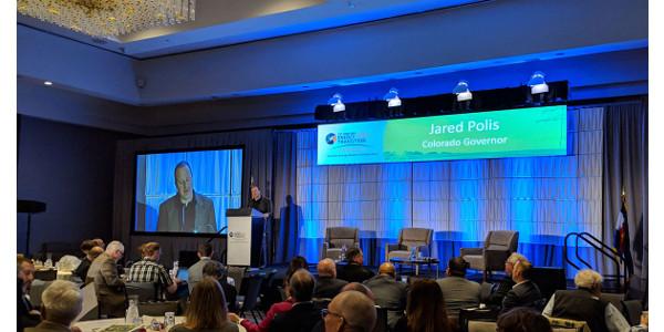 Gov. Jared Polis addresses the 21st Century Energy Transition Symposium, held at the Denver Grand Hyatt April 1-2. (Courtesy of CSU)