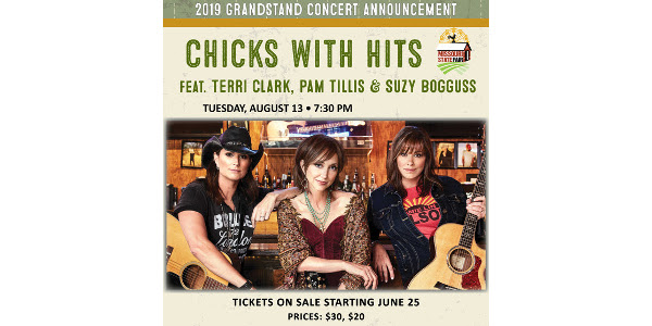 Missouri State Fair Director Mark Wolfe announced that Chicks with Hits featuring Terri Clark, Pam Tillis and Suzy Boggus will perform on the Grandstand Stage on Tuesday, Aug. 13.