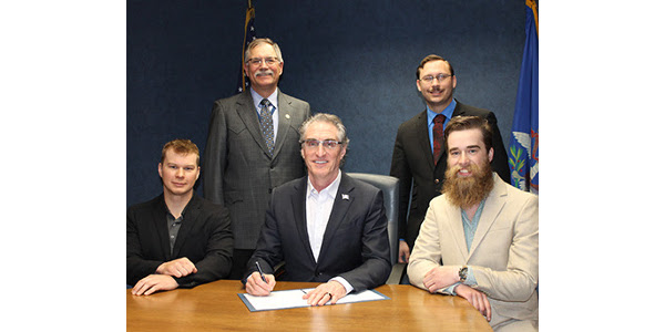 Left to right: David Hovet, Sen. Randy Lemm, Hillsboro, Governor Doug Burgum, Rep. Aaron McWilliams, Hillsboro, and Andrew Galegher. (David and Andrew are the cousins who shared their story with legislators.)