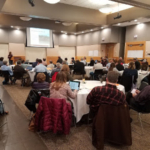 Extension educator Chryseis Modderman presents manure research at the Nutrient Reduction BMP Workshop in Crookston. (Courtesy of University of Minnesota Extension)