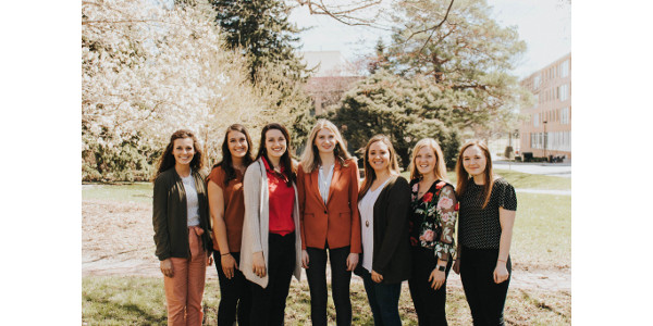Seven college students will be participating in Nebraska Corn's internship program. From left to right: Cheyenne Gerlach (from DeWitt), Morgan Leefers (from Otoe), Amanda Kowalewski (from Gothenburg), Alyssa Jones (from Elkhorn), Emily Keiser (from Gothenburg), Isabelle Stewart (from Columbus) and Sierra Richey (from Juniata). (Courtesy of Nebraska Corn)