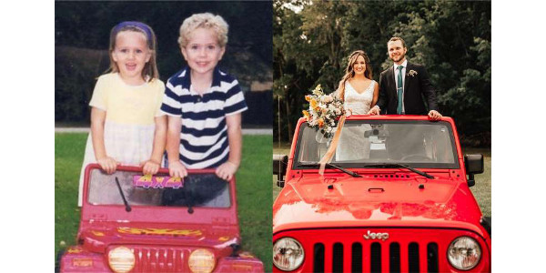 The couple recreated this photo from their childhood. They're still in a red jeep – and they're still inseparable. (Courtesy of Austin and Natalie Tatman)