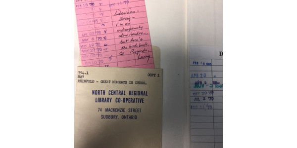 Copper Cliff Library got a nice surprise in the book return - a chess book due 49 years ago.