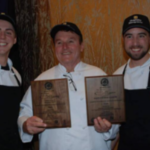 From left to right, Andrew Scheiderer, Professor Keene and Keric Crow at the Taste of Elegance Competition in Columbia, Missouri, after placing third overall and winning People's Choice. (Photo courtesy of Professor Keene)