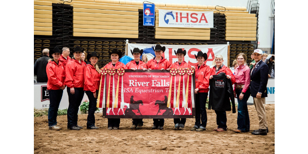 (L-R) Sydni Loose, Jackie Thayer, Samantha Abrahamson, Danielle Paulson, Krista Schoenfelder, Kendyl Bennett, Libby Alders, Emma Edwards, Janie Huot (UWRF coach), AQHA Rep, and Bob Cacchione (CEO and Founder of IHSA). (Courtesy of UW-River Falls)