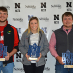 Nebraska College of Technical Agriculture students earned individual honors for high ranks at the 2019 NACTA Student Contest in Kentucky. (From left) Kyle Krantz of Alliance won 1st place in crops, Colbey Luebbe of Seward was 2nd in horticulture, and Seth Racicky of Mason City won 1st in dairy judging. (J. Kennicutt / NCTA News Photo)