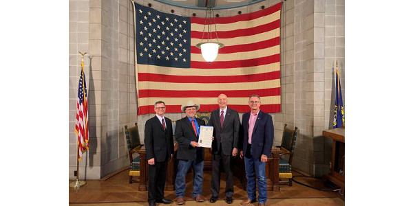 Gov. Ricketts hosts (left to right) Nebraska Department of Agriculture Director Steve Wellman, Nebraska Cattlemen President Mike Drinnin, and Nebraska Beef Council Chairman Buck Wehrbein to celebrate Beef Month. (Courtesy of Office of Governor Pete Ricketts)