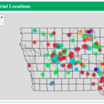 Locations of soybean foliar fungicide on-farm trials (2006-2015) that are part of the new Iowa Soybean Association ISOFAST online tool. (Image courtesy of Iowa Soybean Association.)
