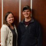Ben Travlos (right) with his academic advisor, Dr. Nichole Busdieker-Jesse, assistant professor in the agribusiness, agricultural education and communications department at Missouri State University. (photo credit: Olivia Loges, senior agriculture student, Missouri State University)